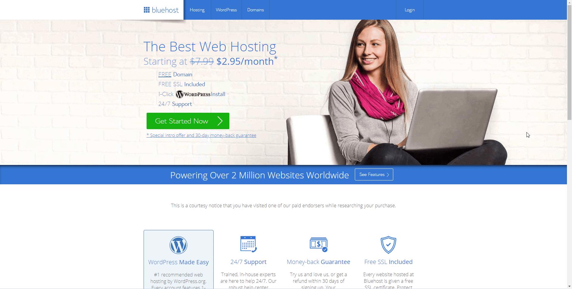 موقع ويب bluehost.com