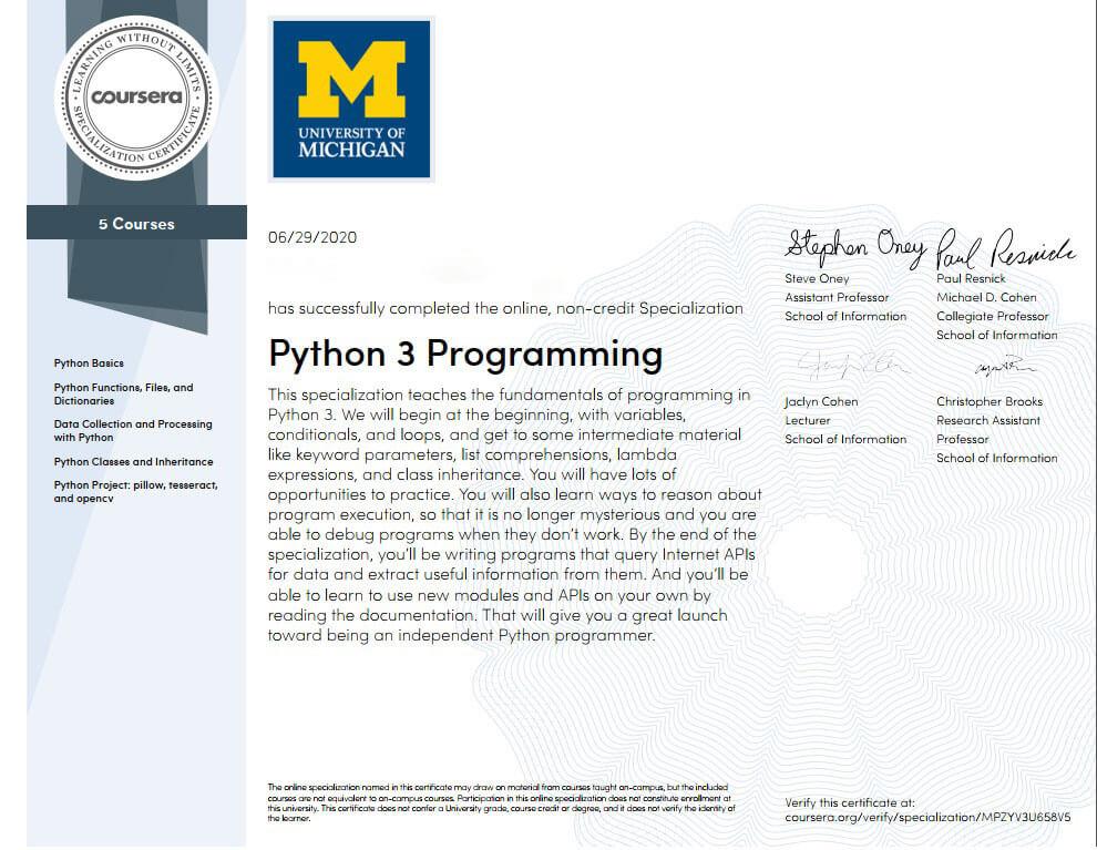 شهادة كورسيرا Coursera